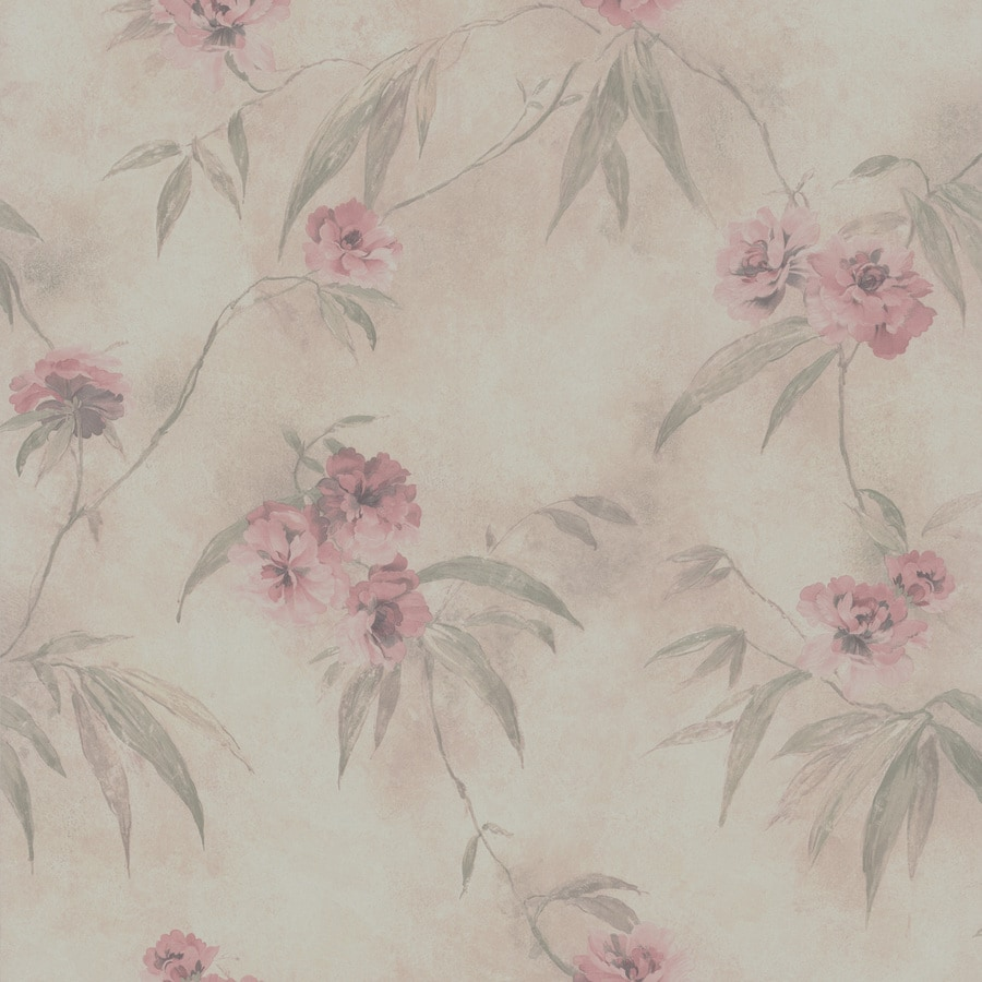 Brewster Wallcovering Cream Textured Floral Wallpaper