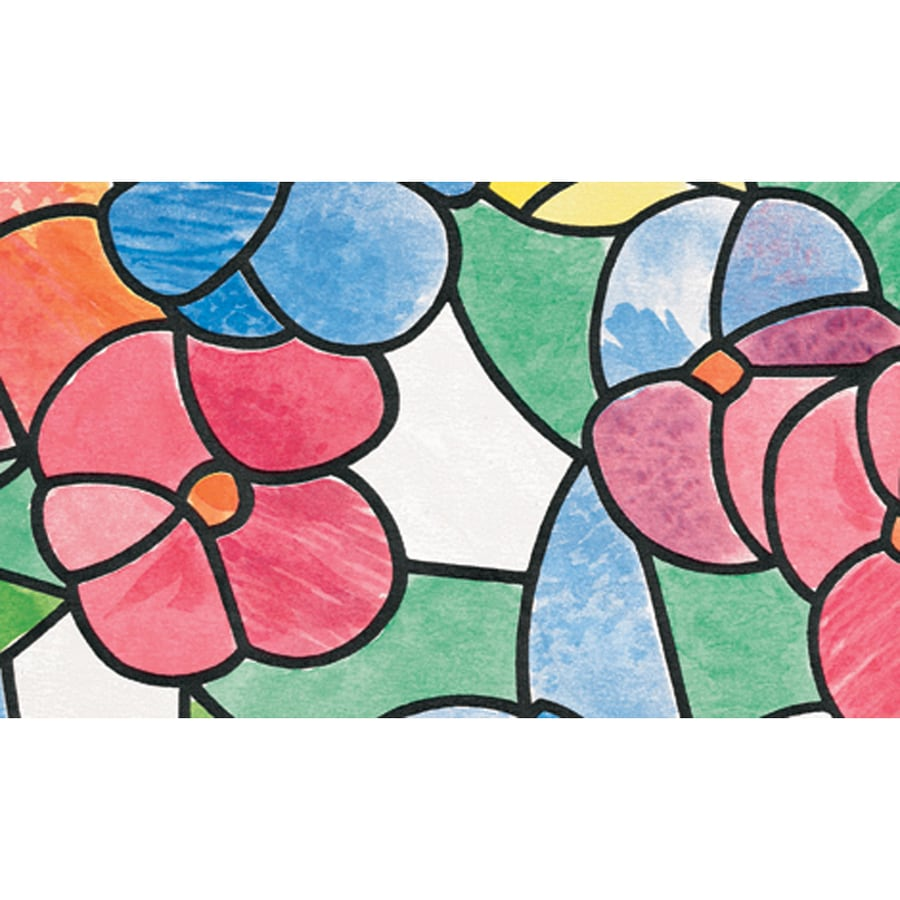Brewster Wallcovering 157.5-in W x 17.75-in L Multi-Color Stained Glass Privacy/Decorative Adhesive Window Film