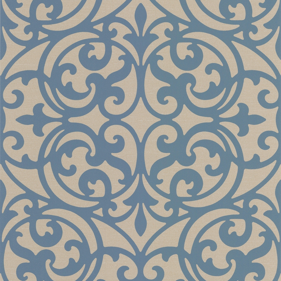 Brewster Wallcovering Blue Non-Woven Damask Wallpaper