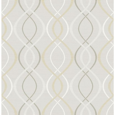 Scott Living 30 75 Sq Ft Yellow Taupe Vinyl Geometric Self