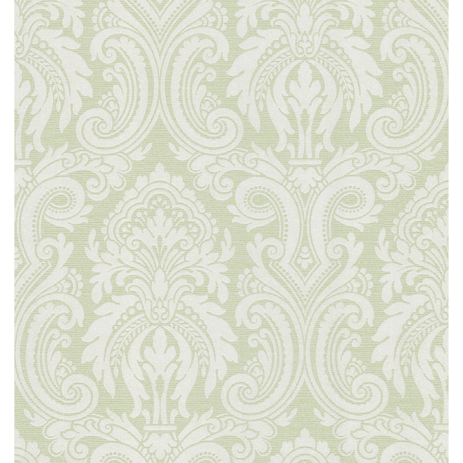Brewster Wallcovering Light Green Classic Damask Wallpaper