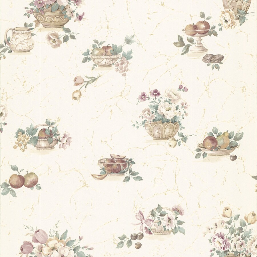 Brewster Wallcovering Kitchen and Bath Resource III Beige Vinyl Floral Wallpaper