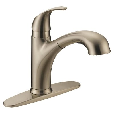 Impressions Brushed Nickel 1 Handle Deck Mount Pull Out Kitchen Faucet