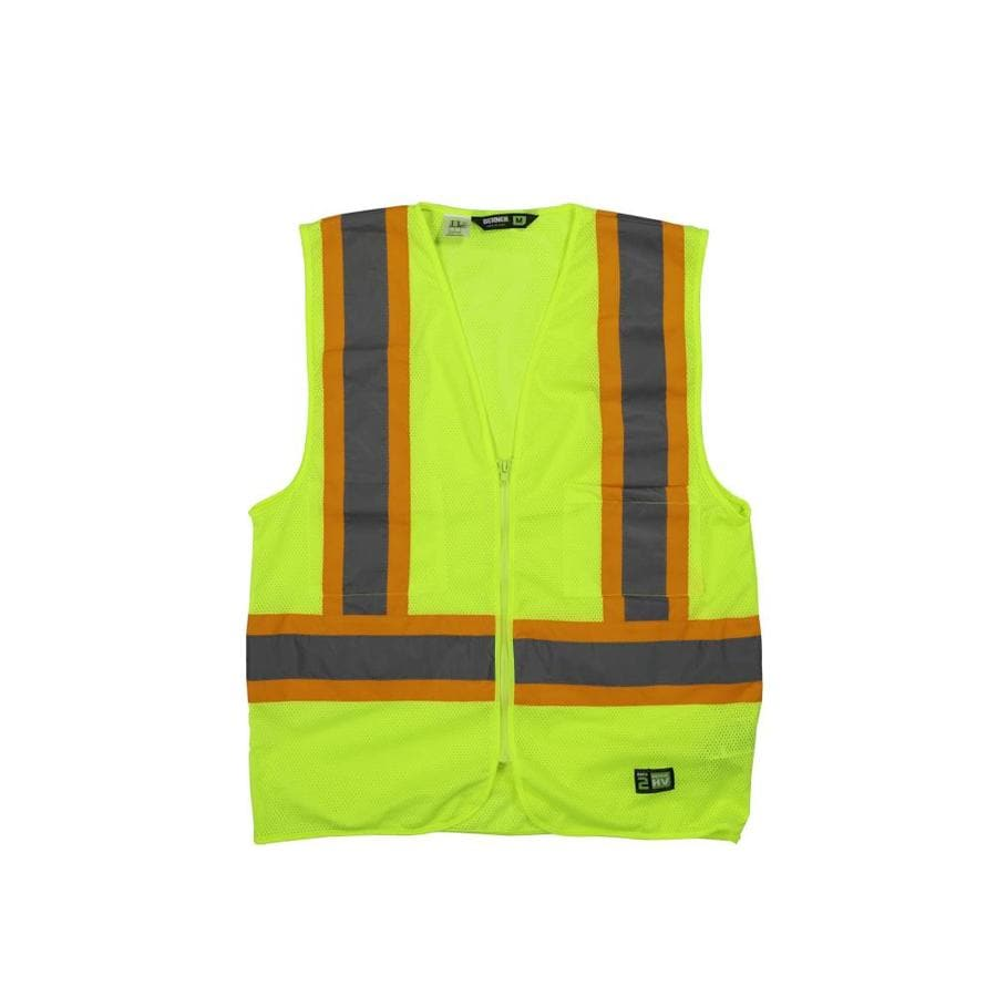 BERNE APPAREL Large Hi-Vis Yellow Polyester High Visibility Reflective Safety Vest