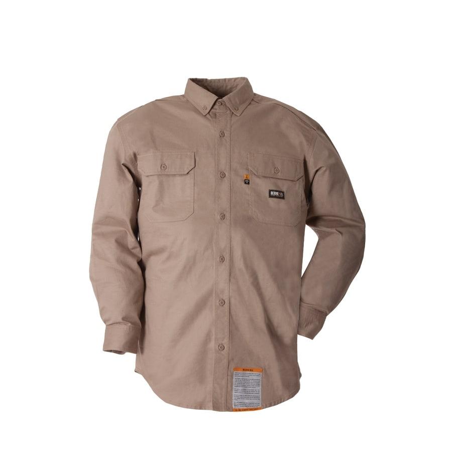 BERNE APPAREL Men's Medium Khaki Twill Cotton-Nylon Blend Long Sleeve Uniform Work Shirt