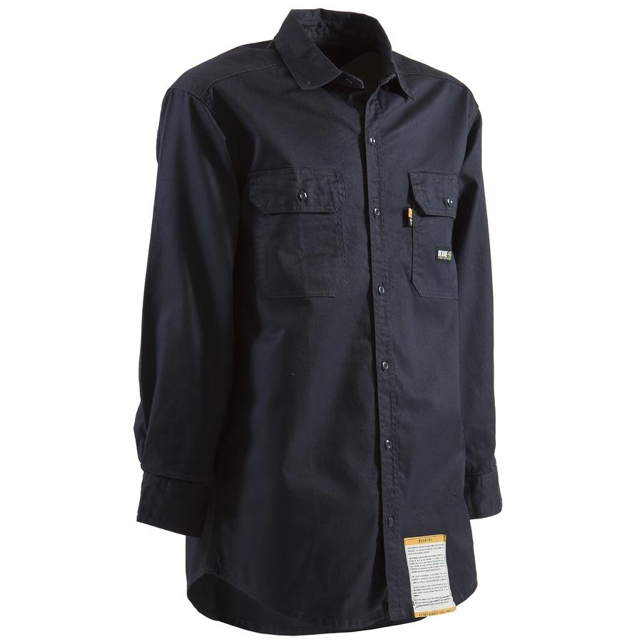 BERNE APPAREL Men's Small Navy Twill Cotton-Nylon Blend Long Sleeve Uniform Work Shirt