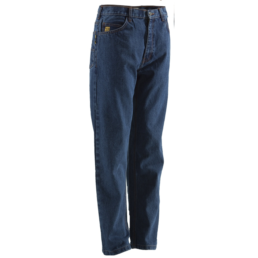 BERNE APPAREL Men's 50x30 Stone Wash Dark Denim HRC 2 Work Pants