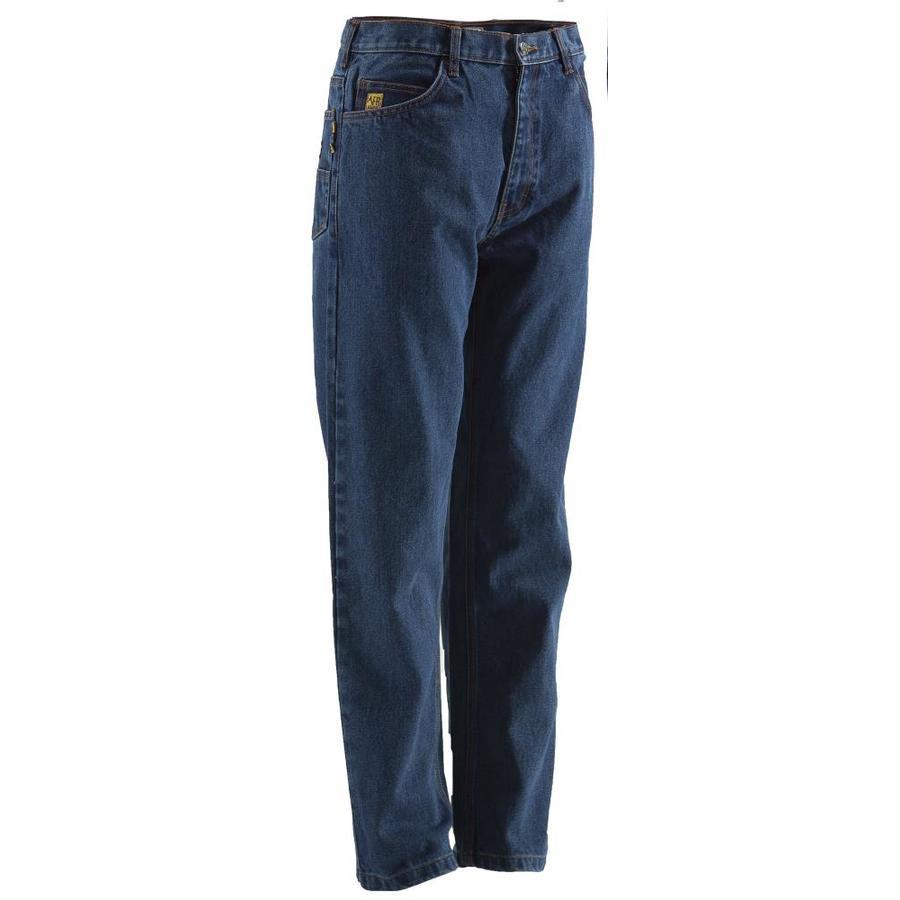 BERNE APPAREL Men's 38x36 Stone Wash Dark Denim HRC 2 Work Pants