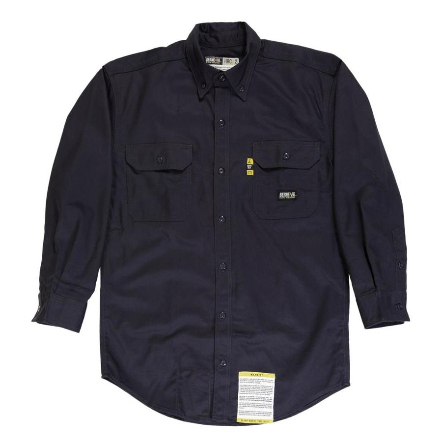 BERNE APPAREL Men's 5XL-Long Navy Twill Cotton/Nylon Blend Long Sleeve Uniform Work Shirt