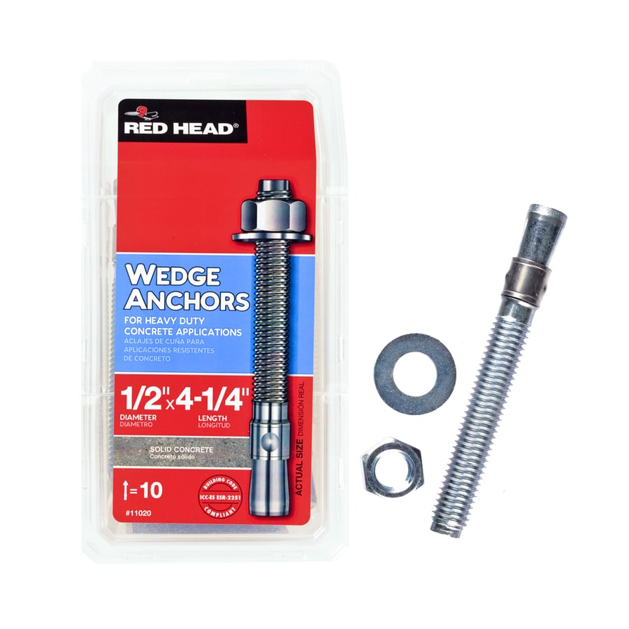 Red Head 10-Pack /2-in x 4-1/4-in Wedge Anchors for Solid Concrete