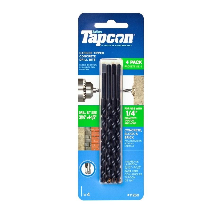 Tapcon 4-Pack 3/16-in x 4-1/2-in Concrete Drill Bits