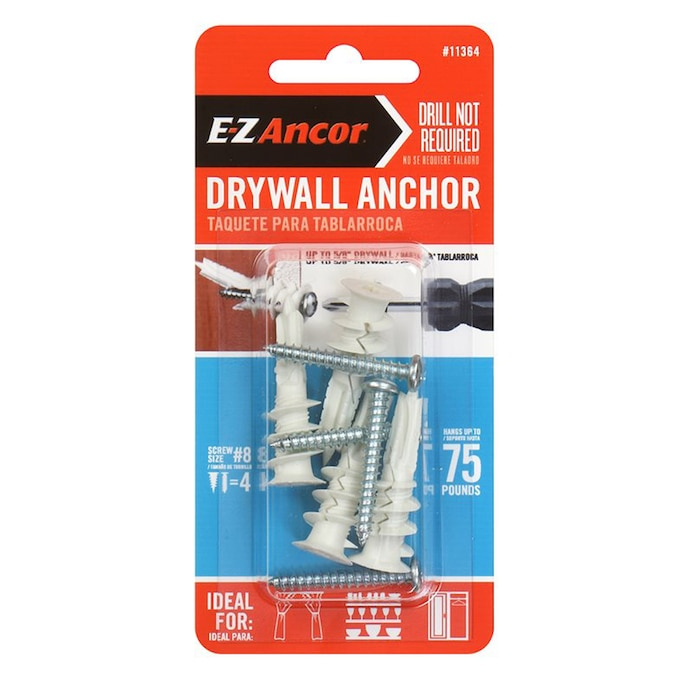 E Z Ancor 4 Pack Standard Drywall Anchor Screws Included In The Drywall Anchors Department At Lowes Com