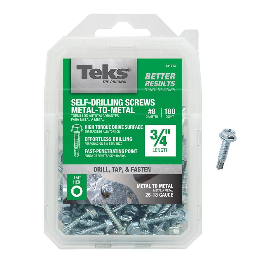 Teks 180-Count #8 to 18 x 0.75-in Washer-Head Zinc-Plated Socket Hex-Drive Standard (SAE) Machine Screws