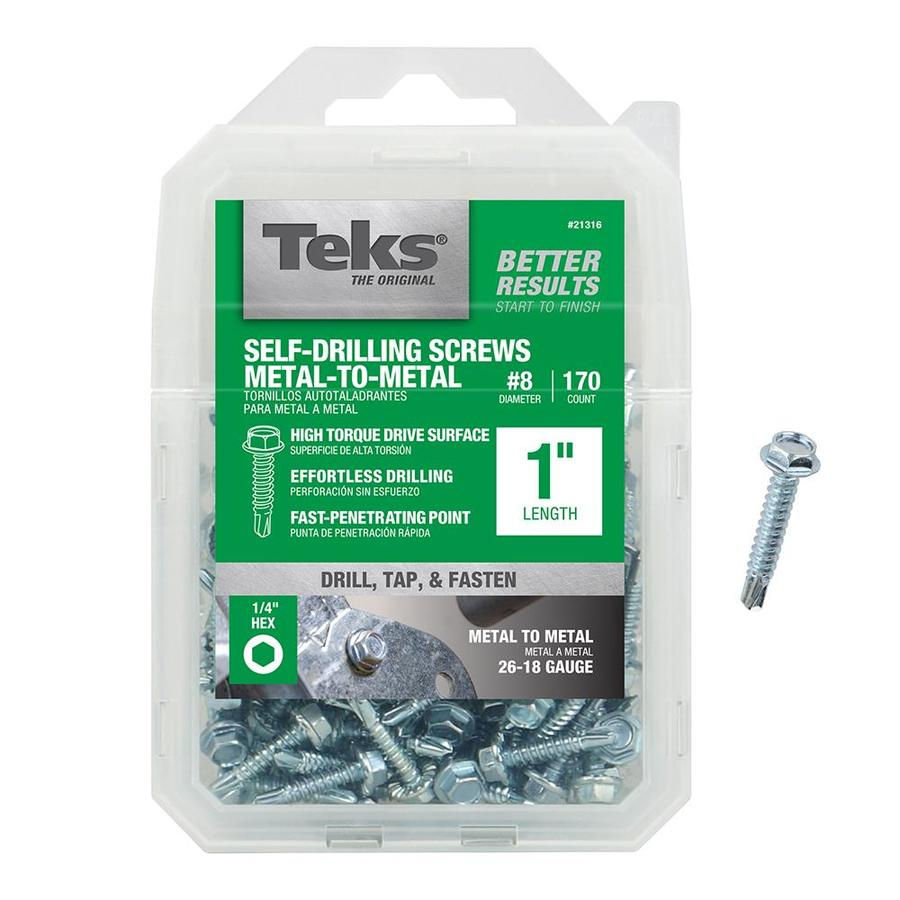 Teks 170-Count #8 to 18 x 1-in Hex Washer-Head Zinc-Plated Socket Hex-Drive Standard (Sae) Machine Screw