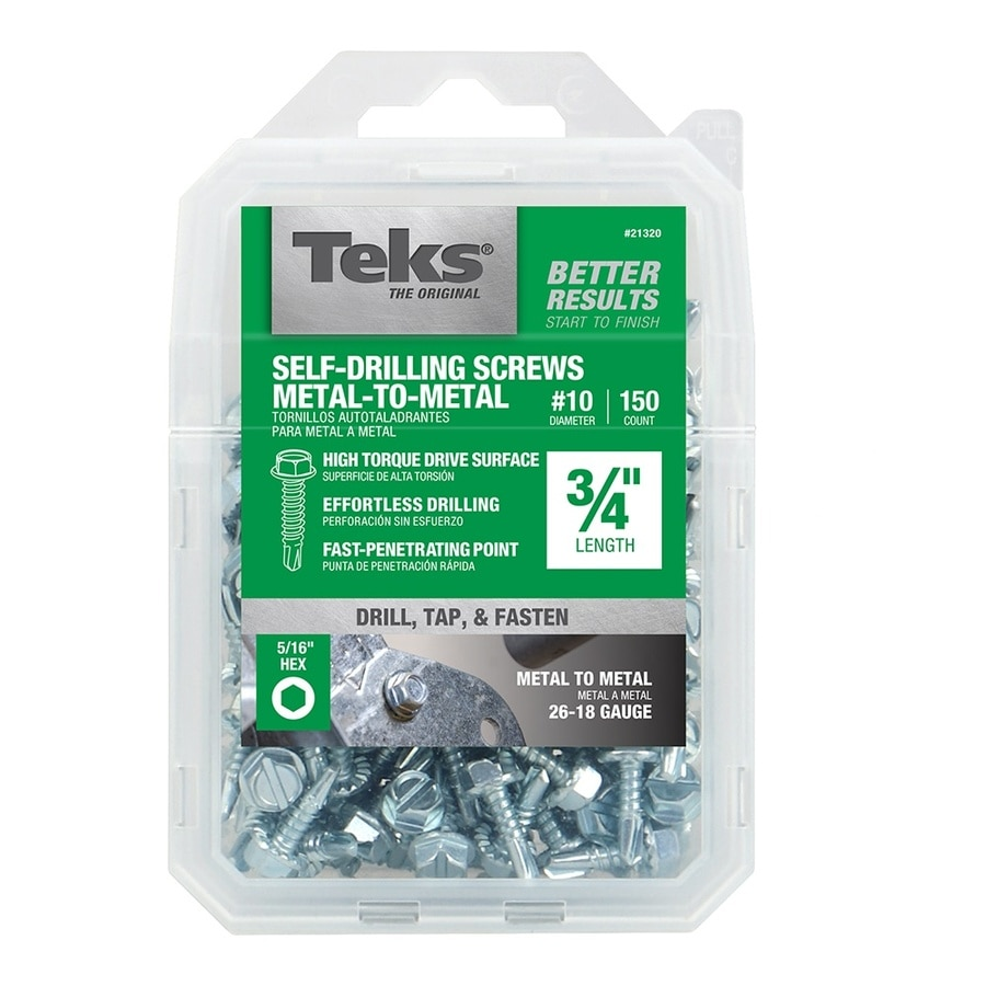 Teks 150-Count #10 to 16 x 0.75-in Hex Washer-Head Zinc-Plated Socket Hex-Drive Standard (Sae) Machine Screw