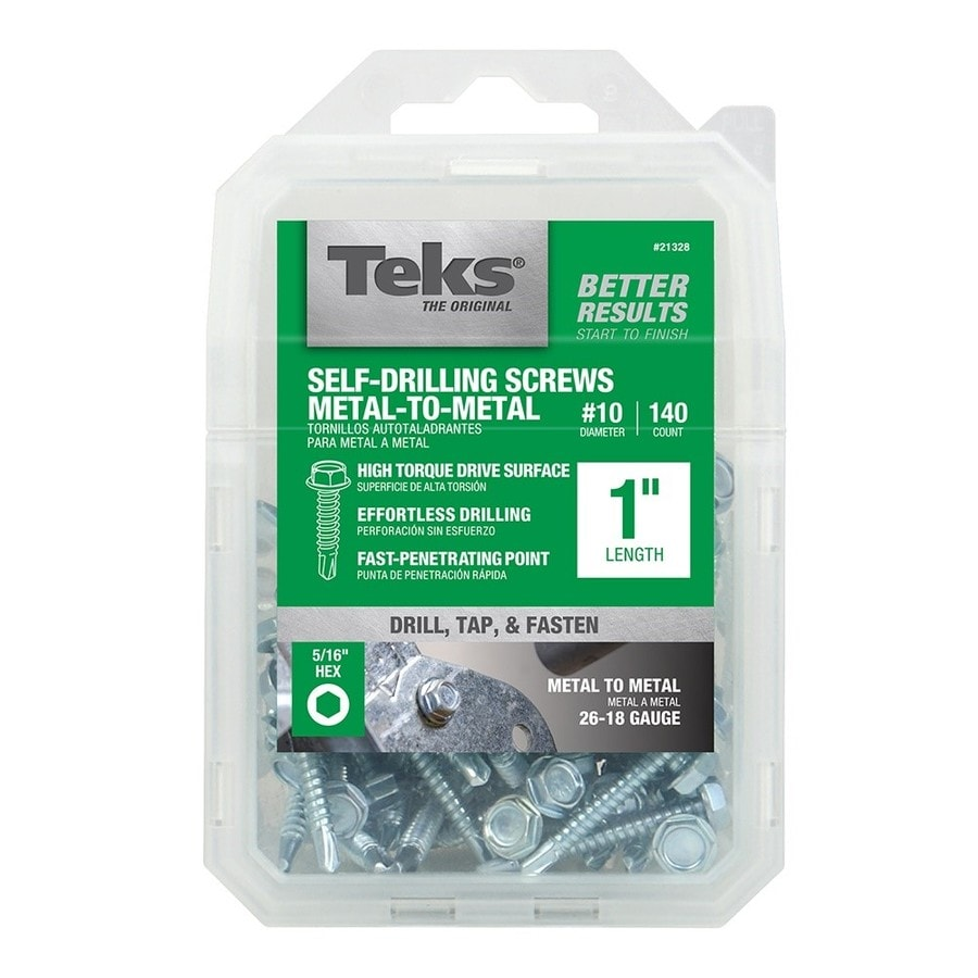 Teks 140-Count #10 to 16 x 1-in Hex Washer-Head Zinc-Plated Socket Hex-Drive Standard (Sae) Machine Screw