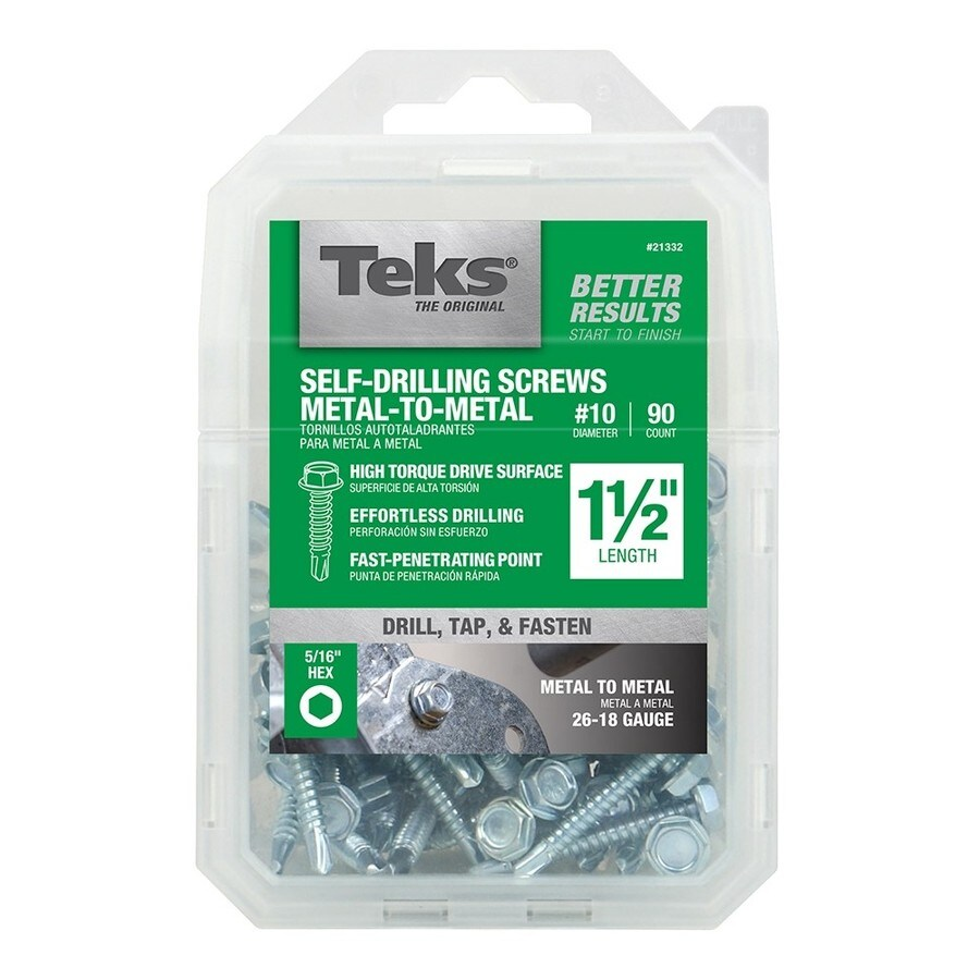 Teks 90-Count #10 to 16 x 1.5-in Hex Washer-Head Zinc-Plated Socket Hex-Drive Standard (Sae) Machine Screw