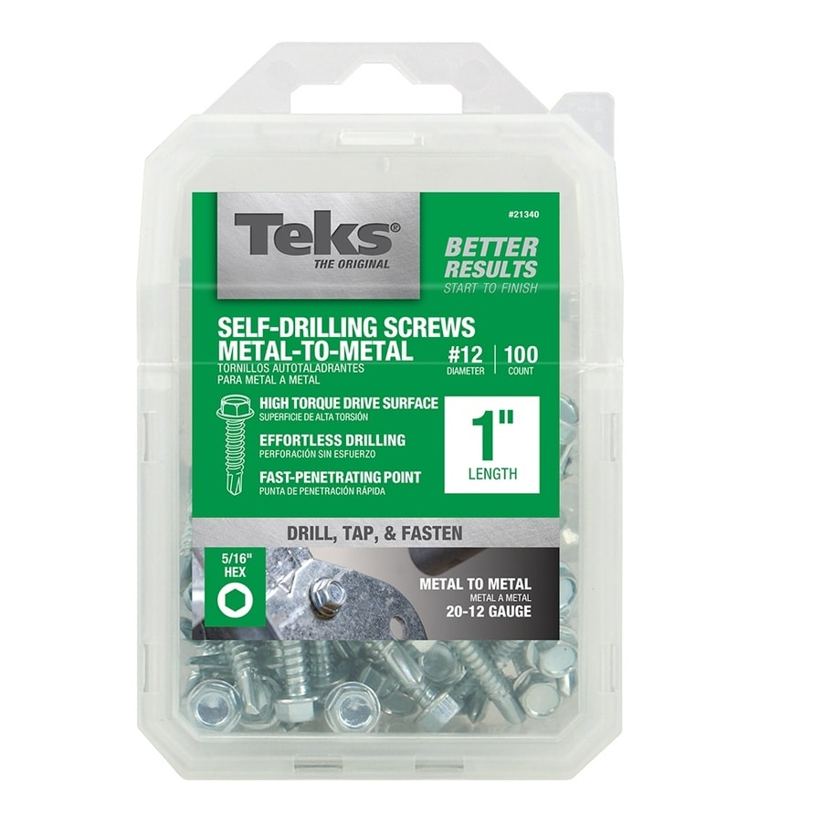 Teks 100-Count #12 to 14 x 1-in Hex Washer-Head Zinc-Plated Socket Hex-Drive Standard (Sae) Machine Screw