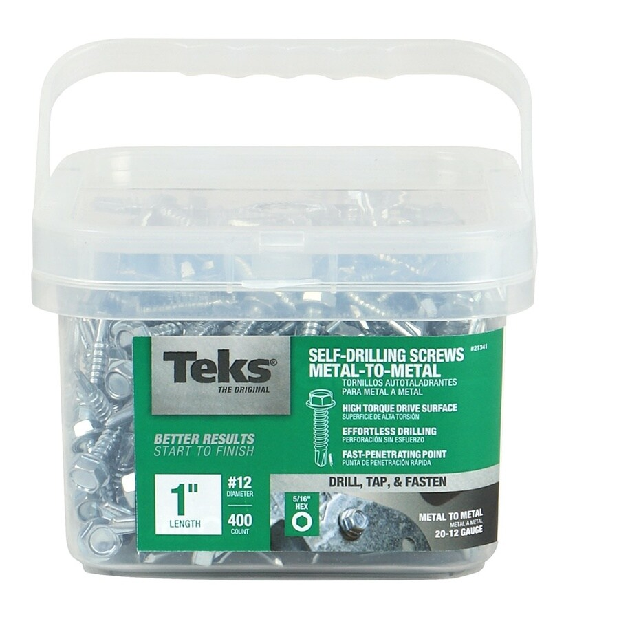 Teks 400 Count #12 x 1-in Zinc-plated Self-drilling Socket Hex-Drive Interior/Exterior Standard (SAE) Sheet Metal Screw