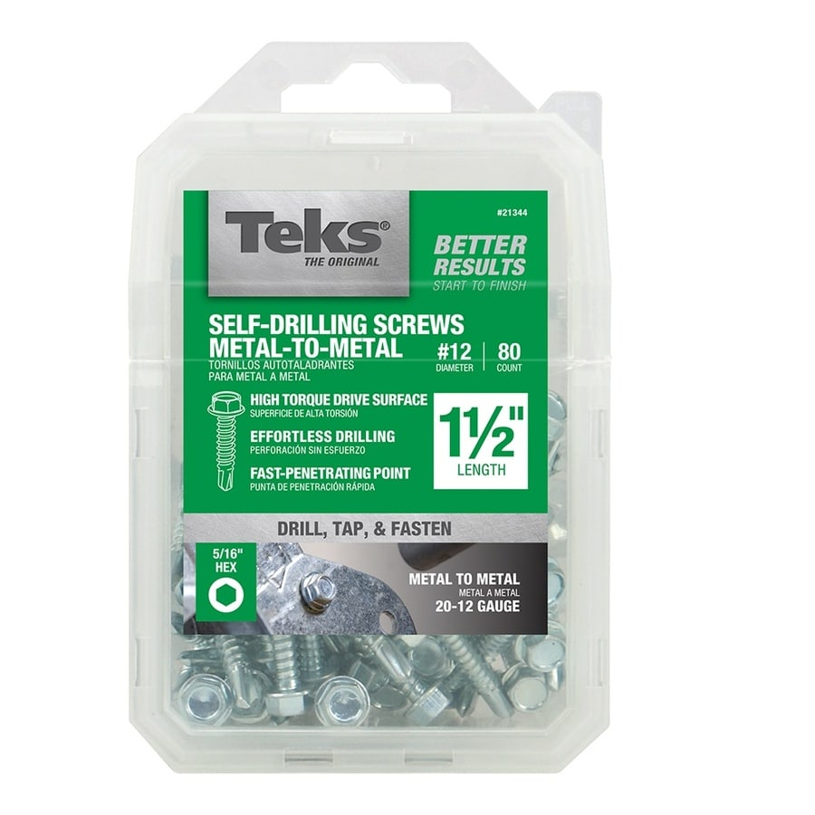 Teks 80-Count #12 to 14 x 1.5-in Washer-Head Zinc-Plated Socket Hex-Drive Standard (SAE) Machine Screws