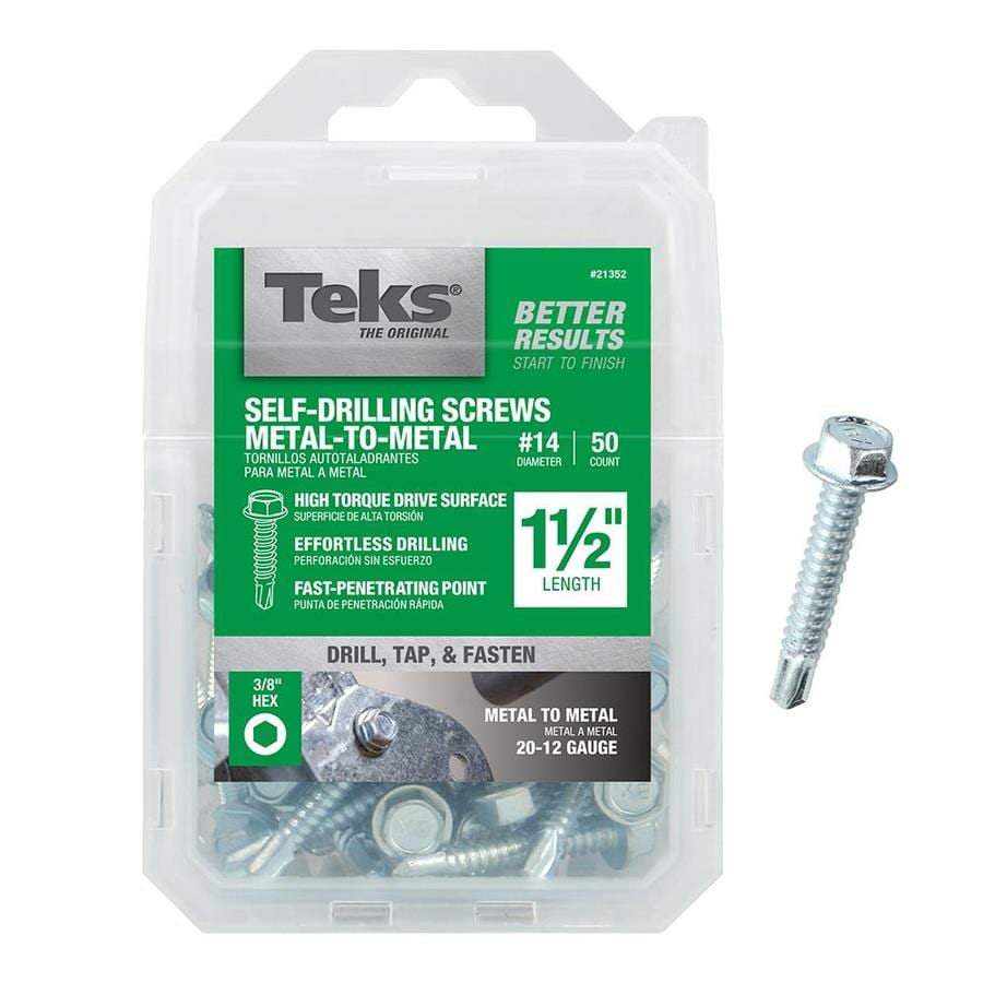 Teks 50-Count #14 to 14 x 1.5-in Hex Washer-Head Zinc-Plated Socket Hex-Drive Standard (Sae) Machine Screw