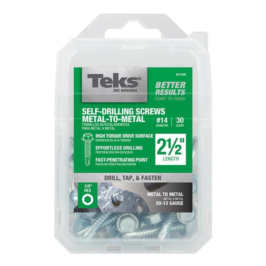 Teks 30-Count #14 to 14 x 2.5-in Washer-Head Zinc-Plated Socket Hex-Drive Standard (SAE) Machine Screws