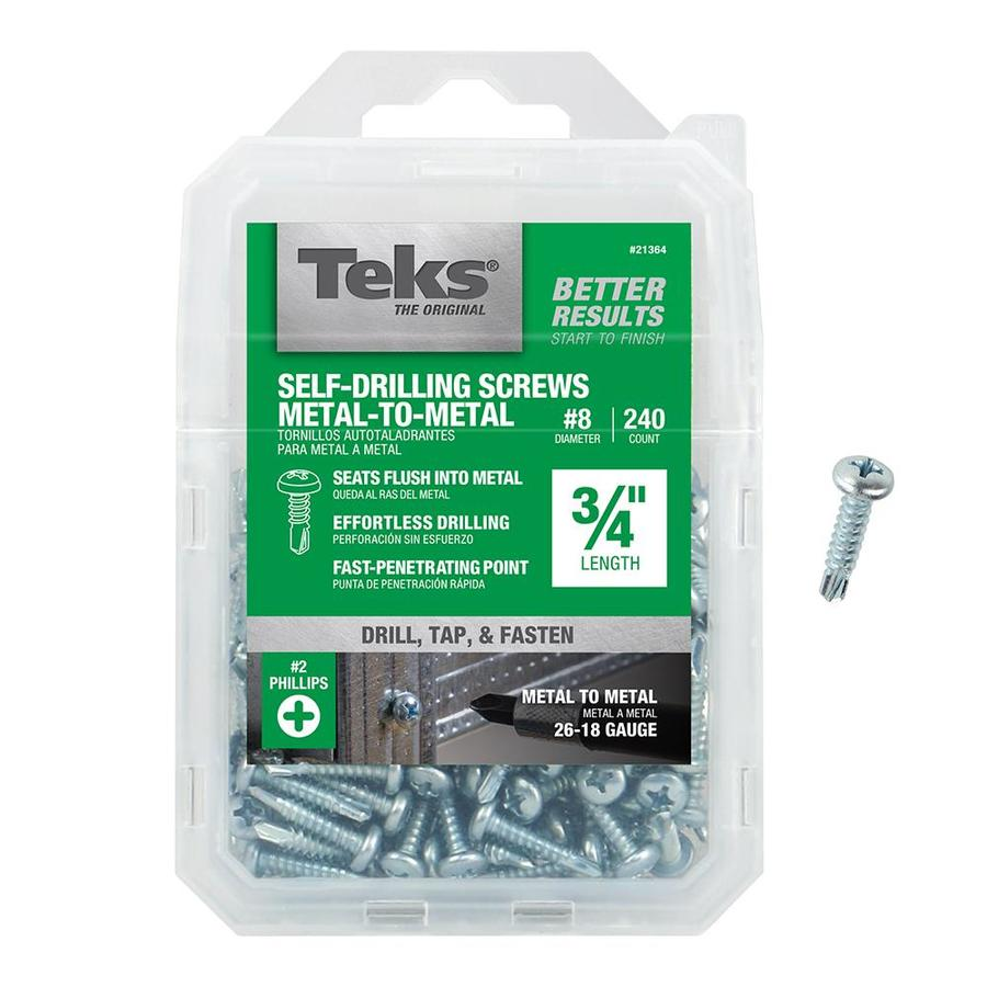 Teks 240-Count #8 to 18 x 0.75-in Pan-Head Zinc-Plated Phillips-Drive Standard (Sae) Machine Screw