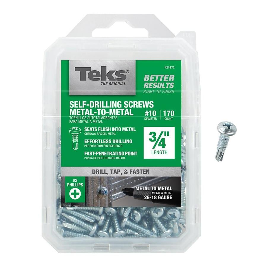 Teks 170 Count #10 x 0.75-in Zinc-Plated Self-tapping Phillips-Drive Interior Standard (SAE) Sheet Metal Screw