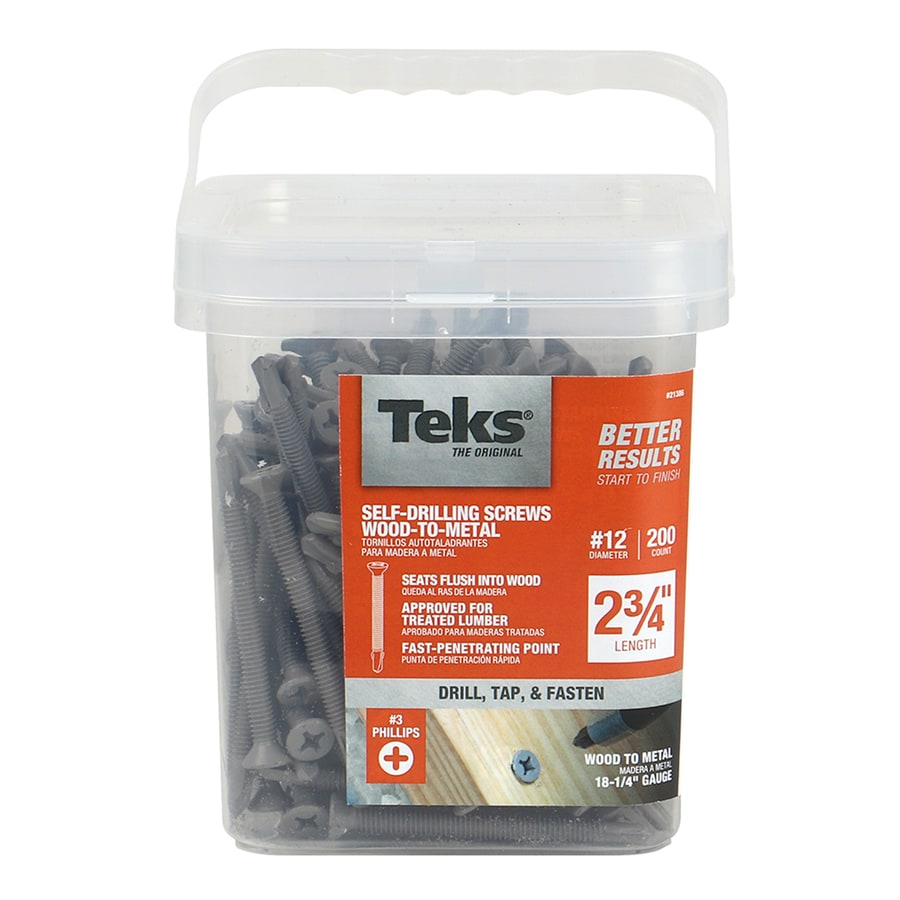 Shop Teks 200 Count 12 X 2 3 4 In Flat Head Coated Self Tapping Phillips Drive Exterior Wood