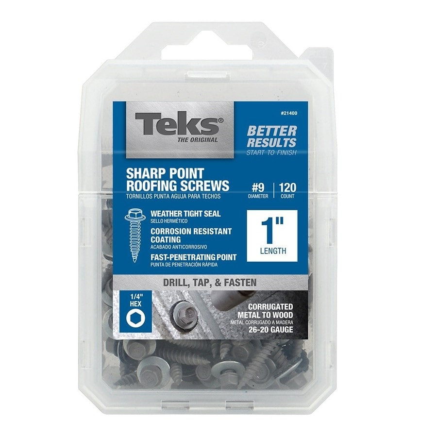 Teks 120-Count #9 x 1-in Zinc-Plated Self-Drilling Interior/Exterior Roofing Screws
