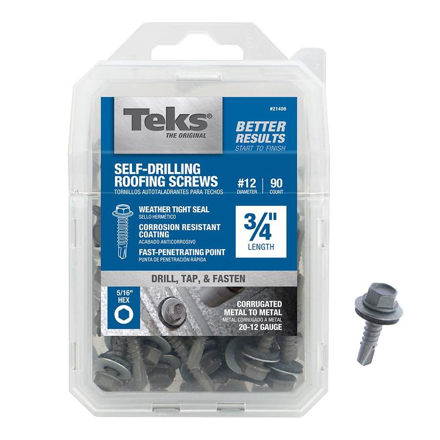 Teks 90 Count #12 x 0.75-in Zinc-Plated Self-Drilling Exterior Roofing Screws