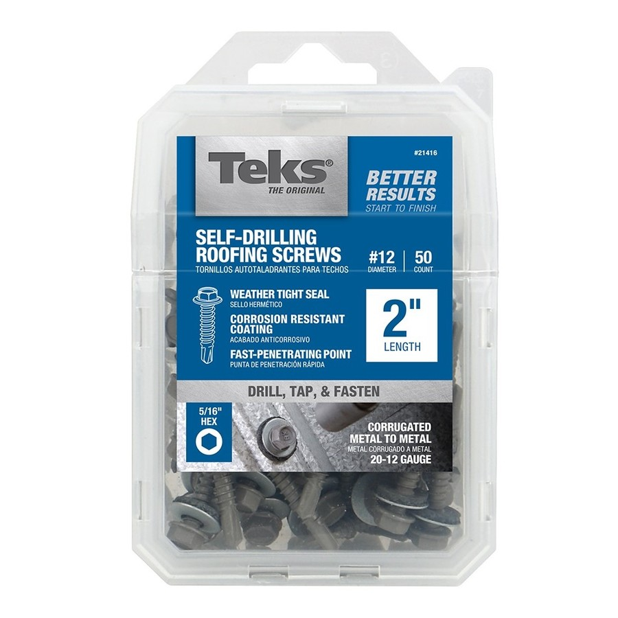 Teks 12 X 2 In Zinc Plated Zinc Plated Self Drilling