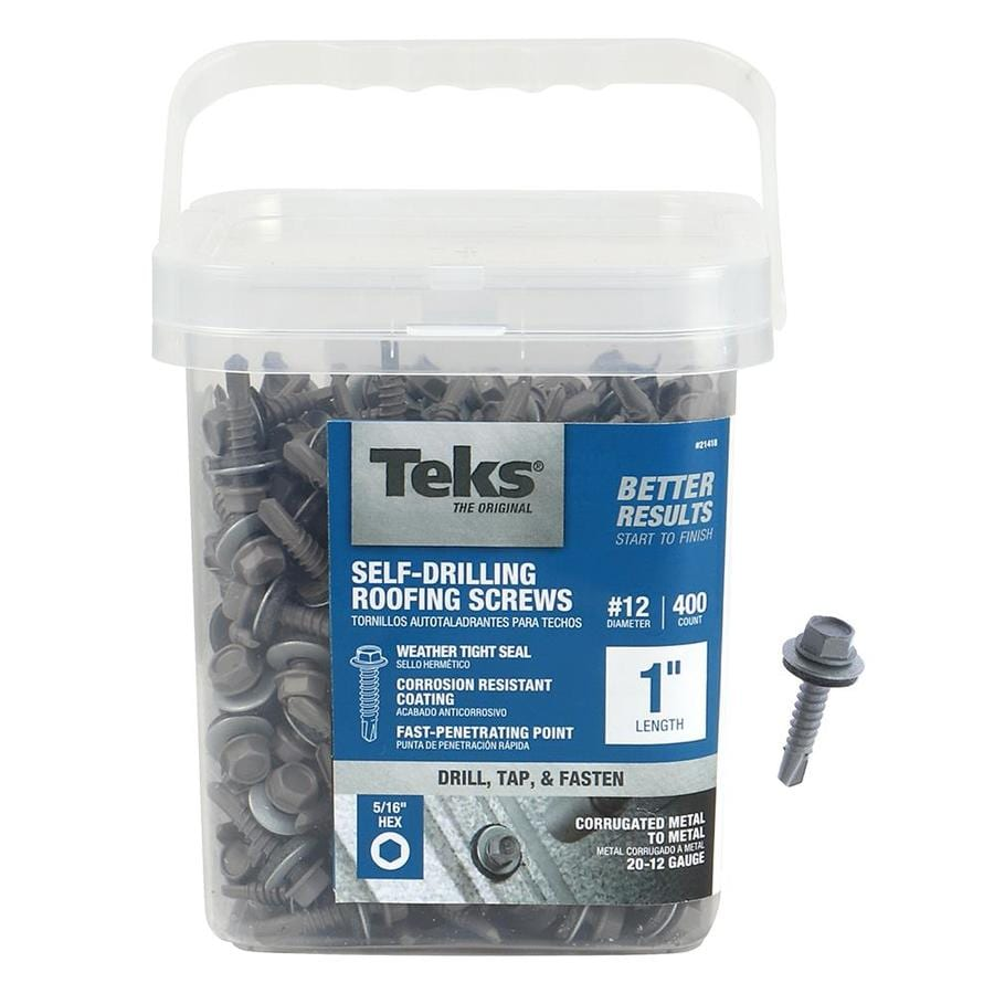 Teks 400-Count #12 x 1-in Zinc-Plated Self-Drilling Interior/Exterior Roofing Screws