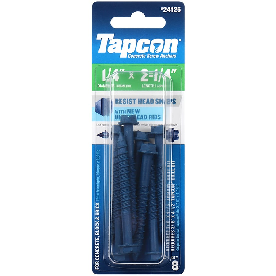 Tapcon 8-Count 1/4-in x 2.25-in Blue Steel Self-Tapping Concrete Screws