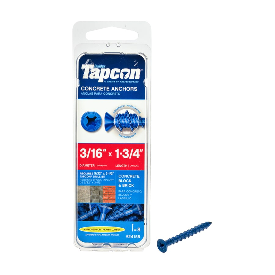 Tapcon 8-Count 3/16-in x 1.75-in Blue Steel Self-Tapping Concrete Screw
