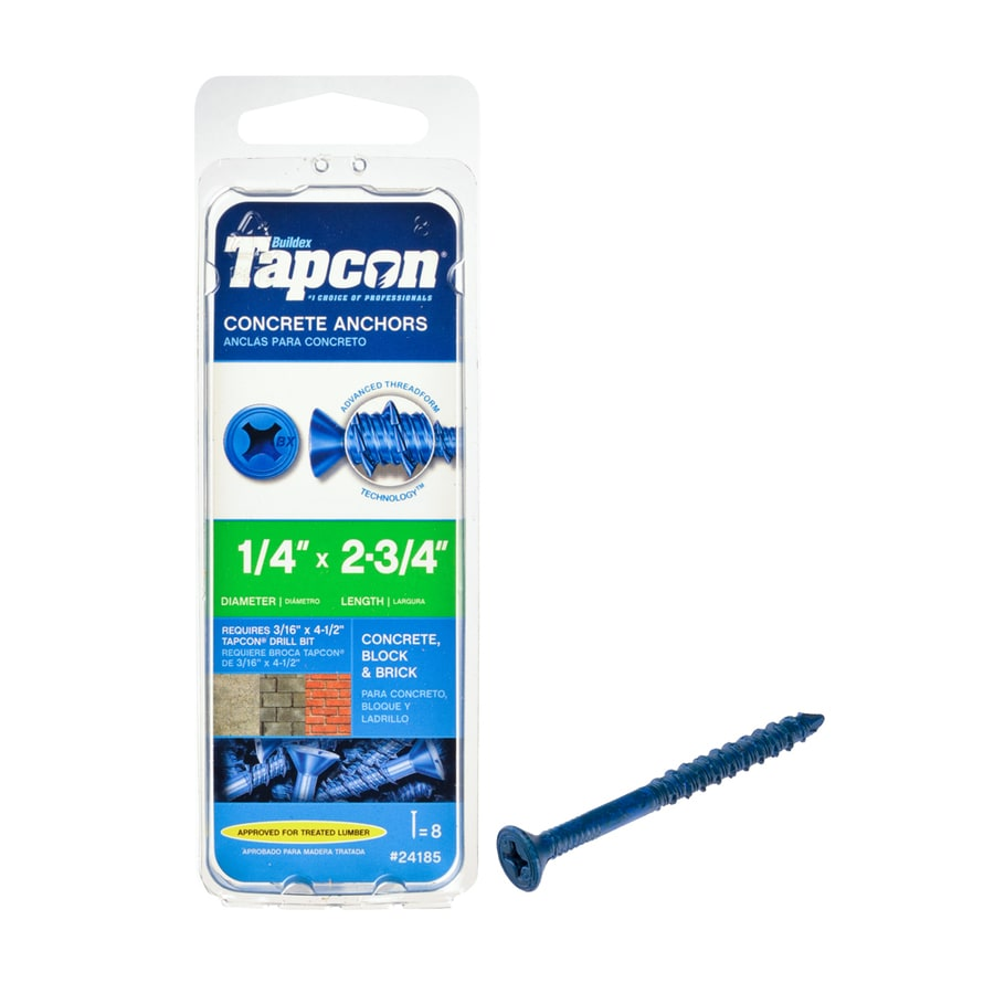 Tapcon 8-Count 1/4-in x 2.75-in Blue Steel Self-Tapping Concrete Screw