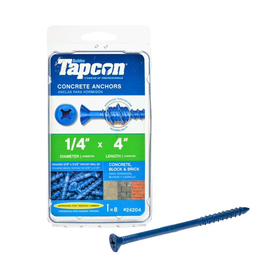 Tapcon 8-Count 1/4-in x 4-in Blue Steel Self-Tapping Concrete Screw