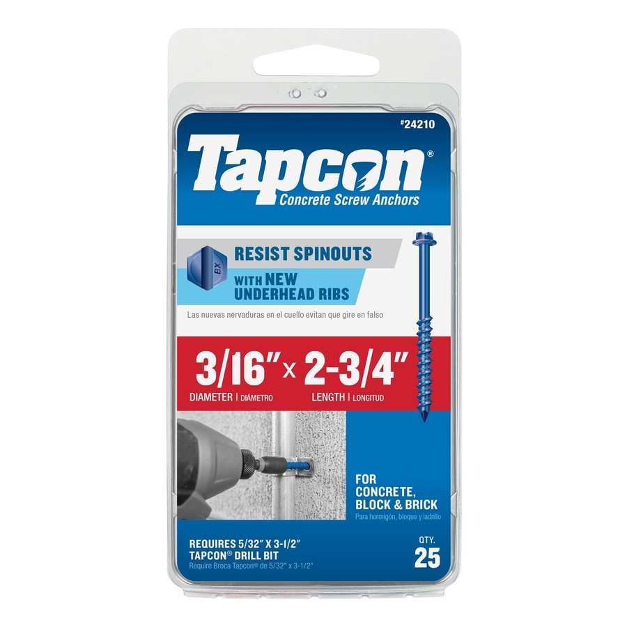 Tapcon 25-Count 3/16-in x 2.75-in Blue Steel Self-Tapping Concrete Screws