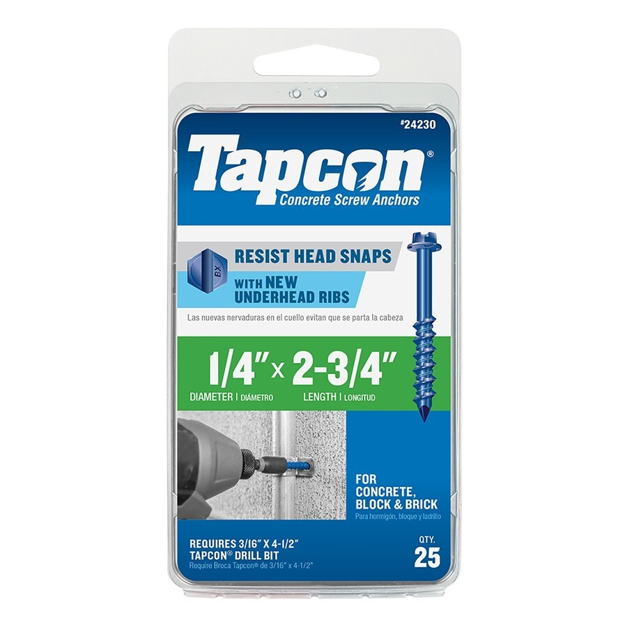 Tapcon 25-Count 1/4-in x 2.75-in Blue Steel Self-Tapping Concrete Screws