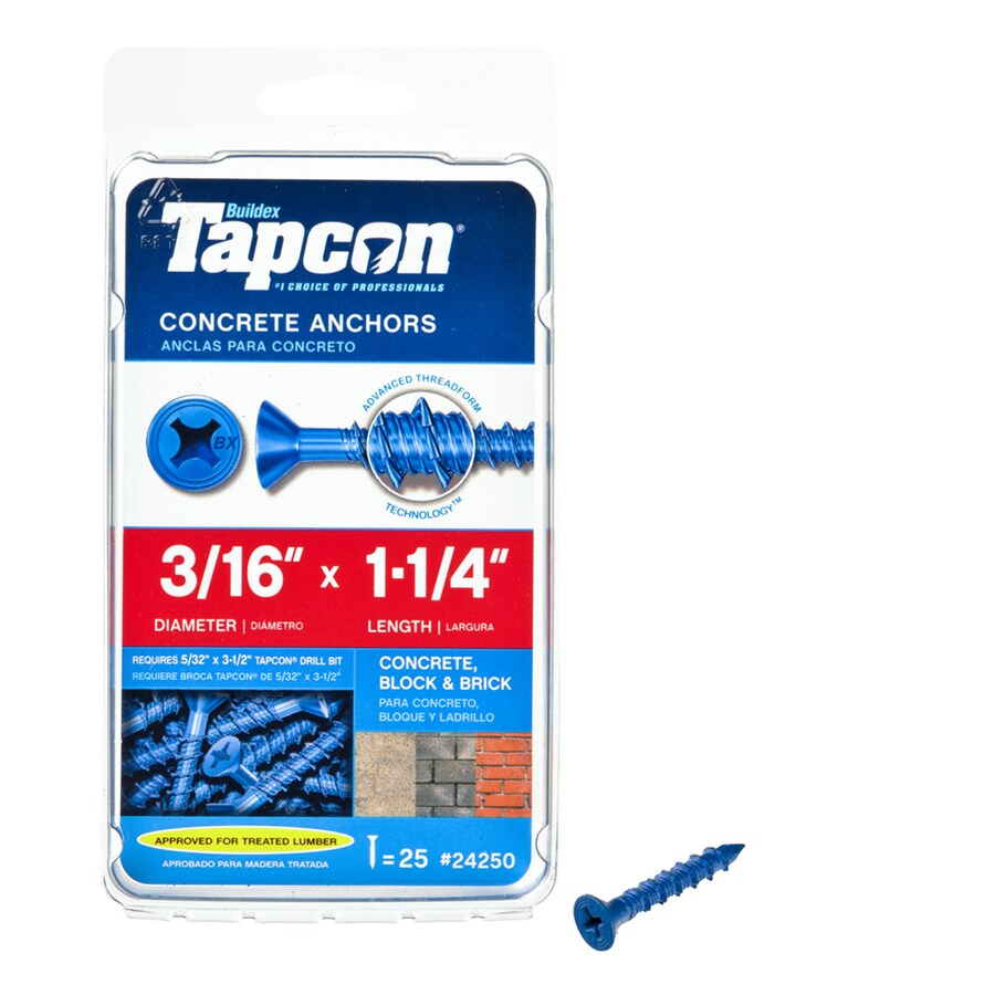 Tapcon 25-Count 3/16-in x 1.25-in Blue Steel Self-Tapping Concrete Screws
