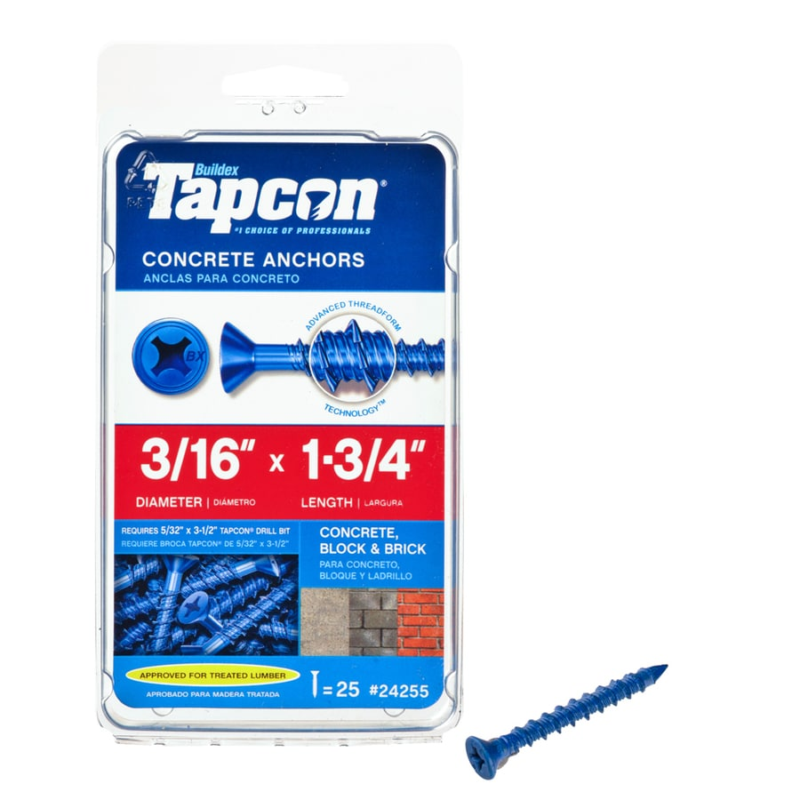 Tapcon 25-Count 3/16-in x 1.75-in Blue Steel Self-Tapping Concrete Screws