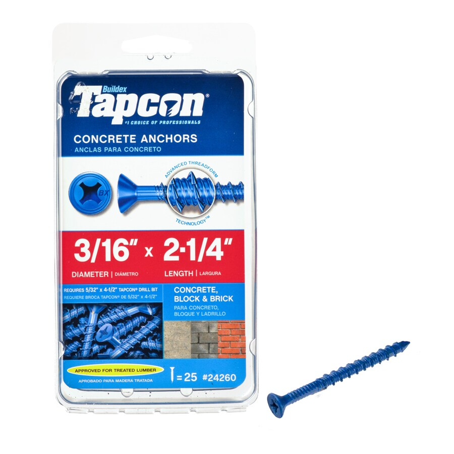 Tapcon 25-Count 3/16-in x 2.25-in Blue Steel Self-Tapping Concrete Screw