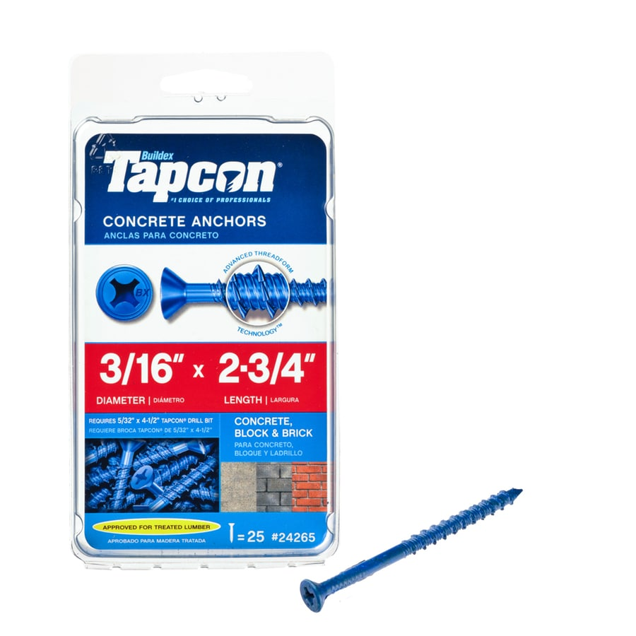 Tapcon 25-Count 3/16-in x 2.75-in Blue Steel Self-Tapping Concrete Screw