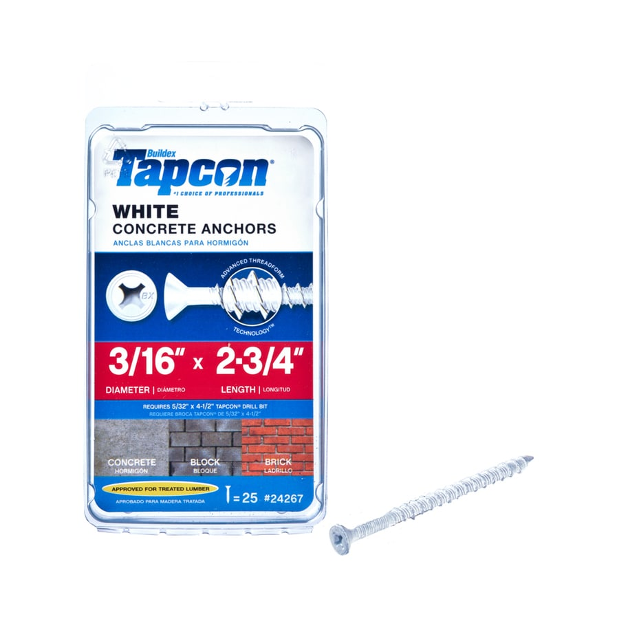 Tapcon 25-Count 3/16-in x 2.75-in Coated Steel Self-Tapping Concrete Screws