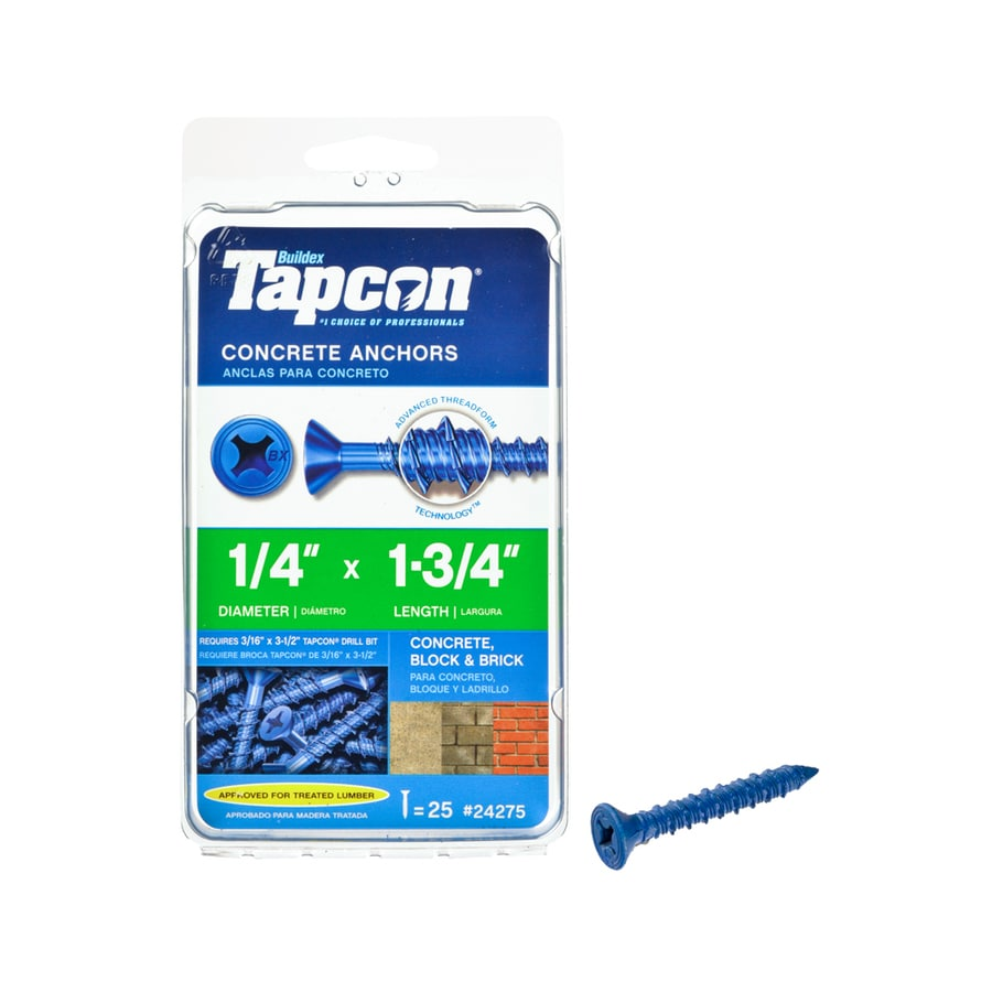 Tapcon 25-Count 1/4-in x 1.75-in Blue Steel Self-Tapping Concrete Screw