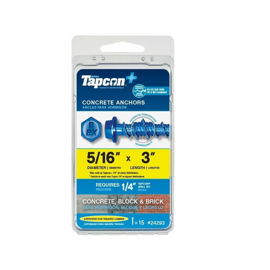 Tapcon 15-Pack 3-in x 0.31-in Blue Steel Heavy-Duty All-Purpose Anchors with Screws