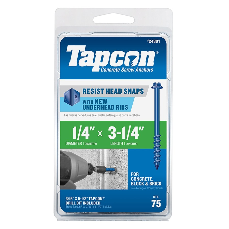 Tapcon 75-Count 1/4-in x 3.25-in Blue Steel Self-Tapping Concrete Screw