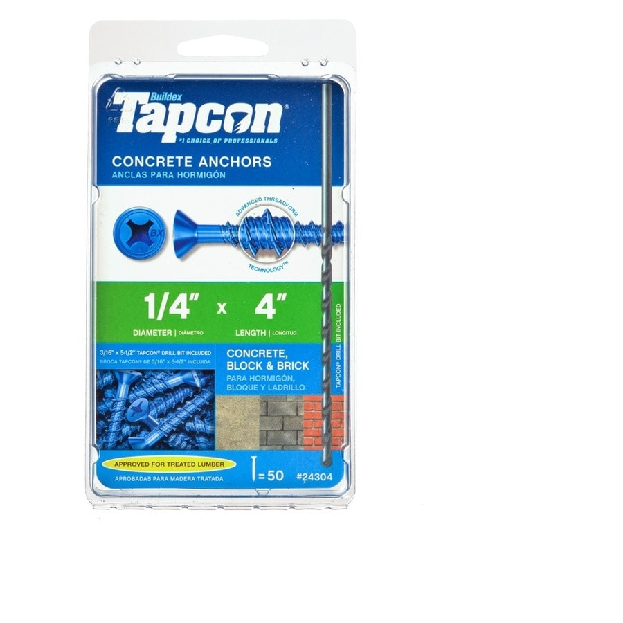 Buildex 50-Count 1/4-in x 4-in Blue Steel Self-Tapping Concrete Screws