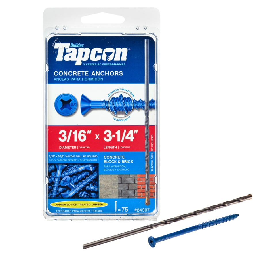 Buildex 75-Count 3/16-in x 3.25-in Blue Steel Self-Tapping Concrete Screws