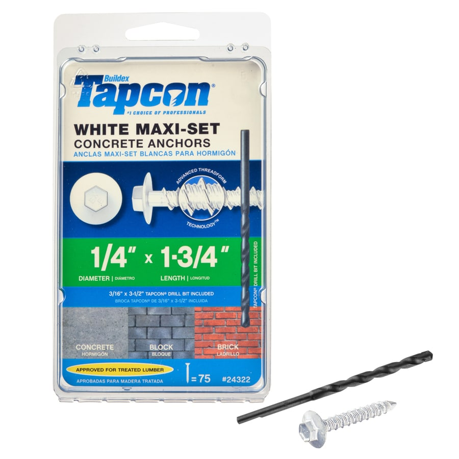 Tapcon 75-Count 1/4-in x 1.75-in White Steel Self-Tapping Concrete Screw